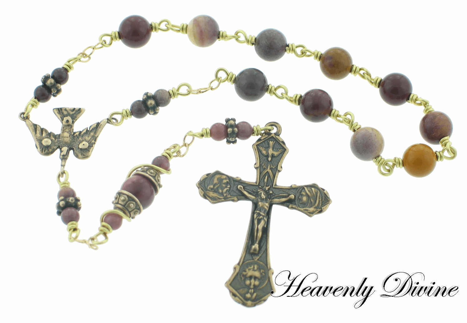 Holy Family Wire Wrapped Bronze Pocket Rosary by Heavenly Divine