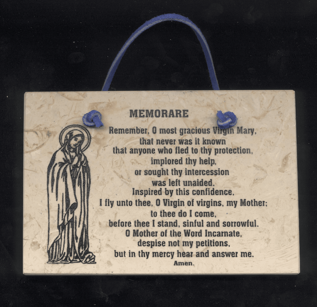 Holy Land Jerusalem Stone Memorare Wall Plaque