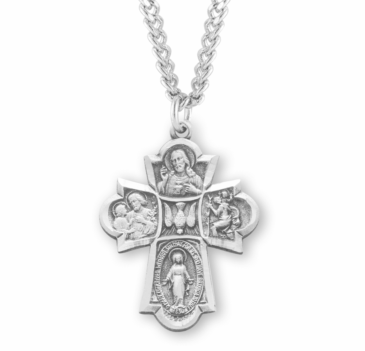 Holy Spirit Center Sterling 4-Way Medal Necklace by HMH Religious