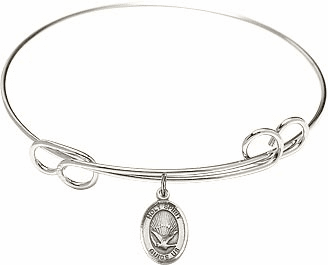 Holy Spirit Dove Round Loop Bangle Charm Bracelet by Bliss