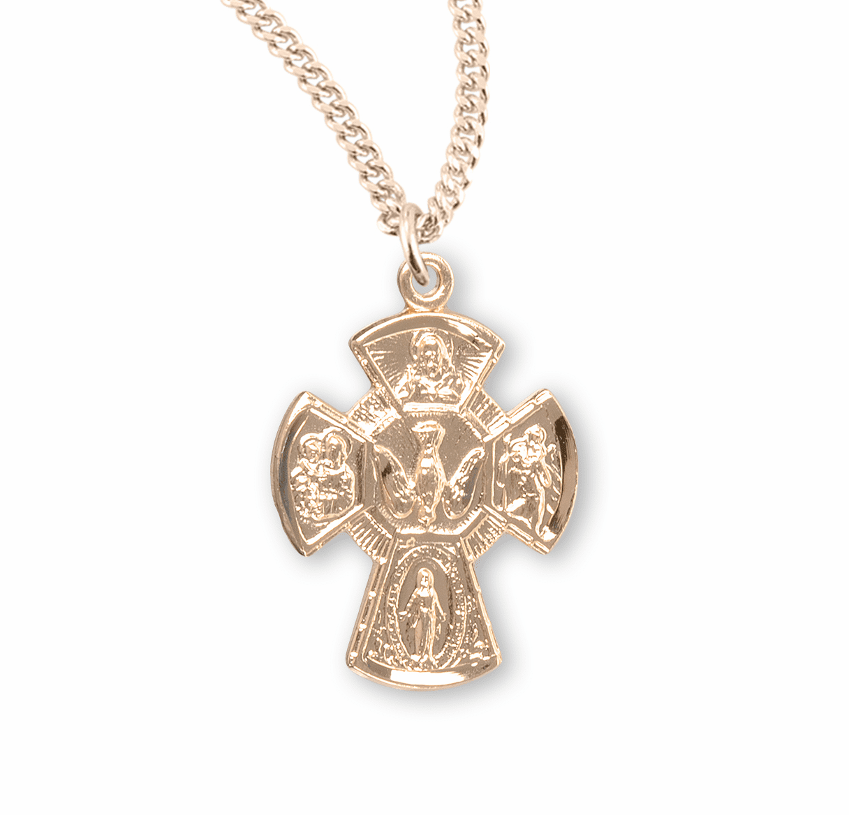 Holy Spirit Gold 4-Way Cross Medal Necklace by HMH Religious