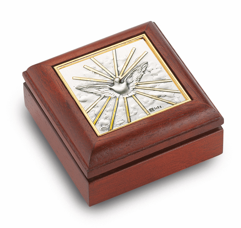 Holy Spirit Salerni Mahogany Keepsake Rosary Box