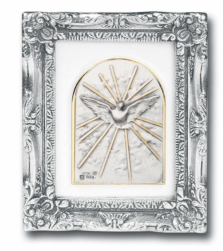Holy Spirit Sterling Image w/Antique Silver Frame Picture by Salerni