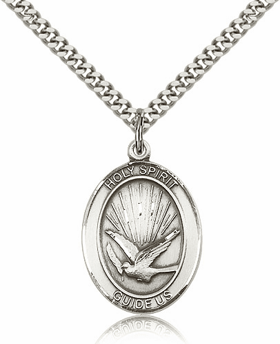 Holy Spirit Sterling Silver Medal Necklace by Bliss Manufacturing