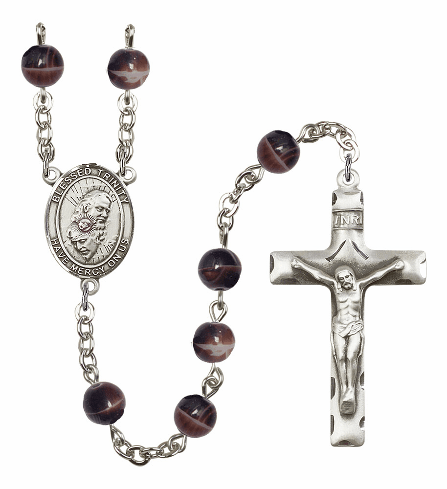 Holy Trinity Father, Son & Holy Spirit 7mm Brown Gemstone Rosary by Bliss