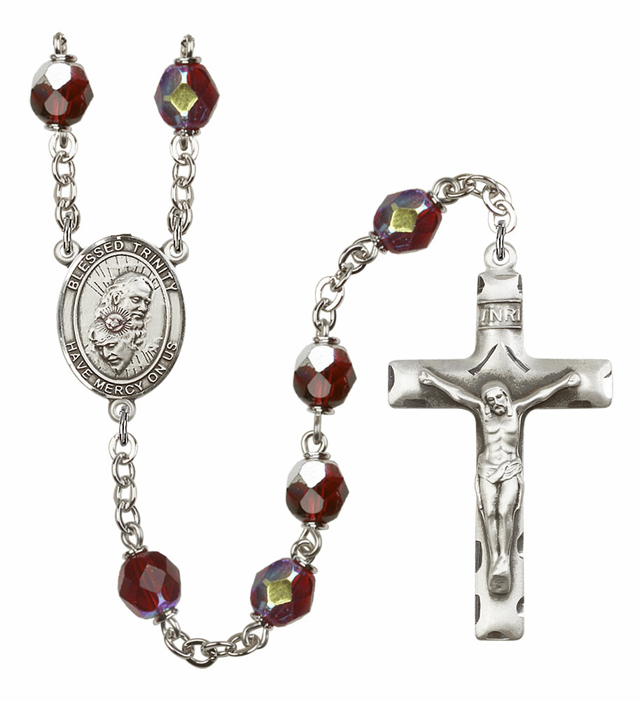 Holy Trinity Father, Son & Holy Spirit 7mm AB Garnet Rosary by Bliss Mfg