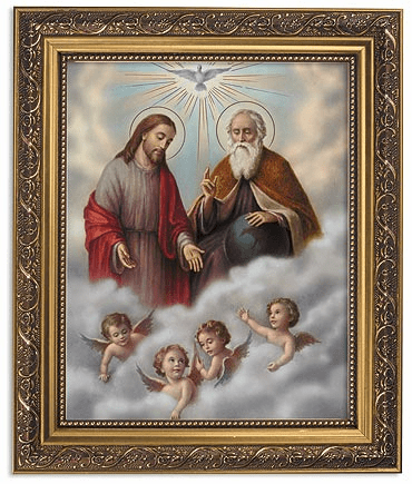 Holy Trinity Framed Print Picture with Gold Frame by Gerffert