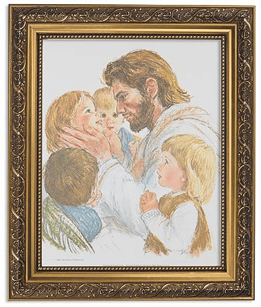 Hook Christ with Children Framed Print Picture with Gold Frame by Gerffert