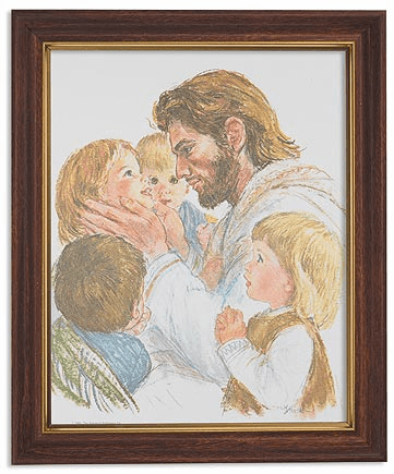 Hook Christ with Children Framed Print Picture with Woodtone Frame by Gerffert