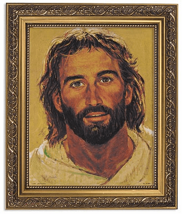 Hook Head of Christ Framed Print Picture with Gold Frame by Gerffert