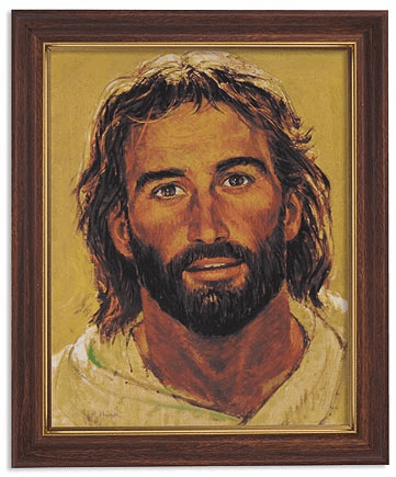 Hook Head of Christ Framed Print Picture with Woodtone Frame by Gerffert