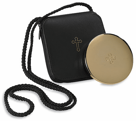 Hospital Eucharist Pyx 24Kt Gold-Plated with Leather Burse by Stratford Chapel