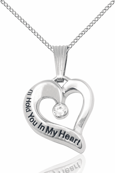 I'll Hold You in My Heart Sterling Silver April Crystal Birthstone Pendant by Bliss