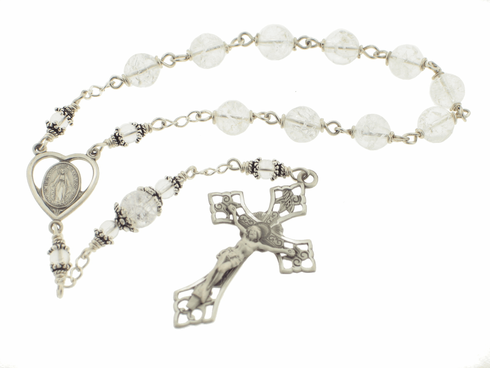 Heavenly Divine Rosaries Ice Flake Quartz Sterling Silver Wire Wrapped Pocket Rosary
