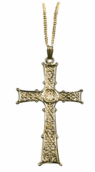 IHS Detailed Gold Plated over Sterling Silver Clergy Cross by Sudbury Brass