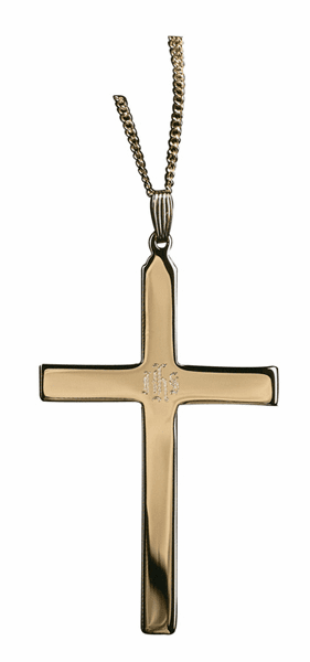 IHS Engraved Gold Plated over Sterling Silver Clergy Cross by Sudbury Brass