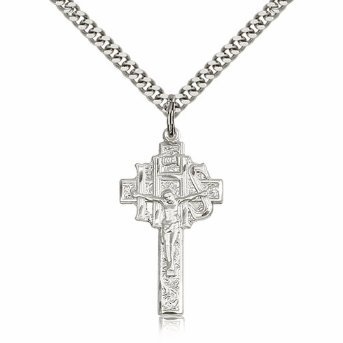 IHS Medium Sterling Silver Crucifix Cross Pendant w/Chain