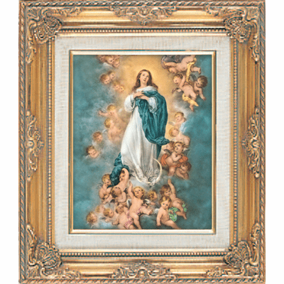 Immaculate Conception under Glass w/Gold Framed Picture by Cromo N B