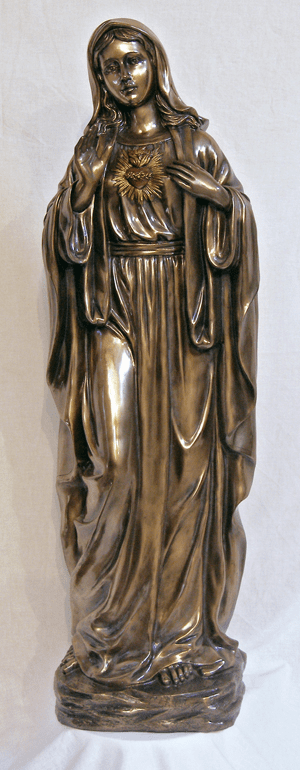 Immaculate Heart of Mary Bronze Cold Cast Sculpture Statue