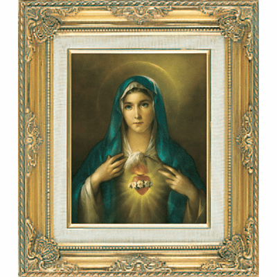 Immaculate Heart of Mary under Glass w/Gold Framed Picture by Cromo N B