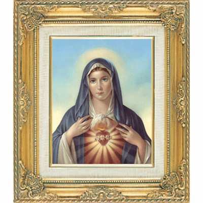 Immaculate Heart of Mary under Glass w/Gold Framed Picture by Cromo N B Milan Italy