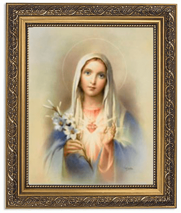 Immaculate Heart of Mary with Lilies Framed Print Picture with Gold Frame by Gerffert