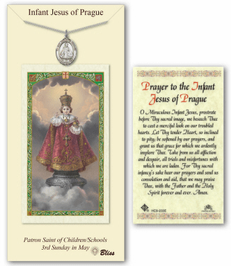 Infant of Prague Pendant and Holy Prayer Card Gift Set by Bliss