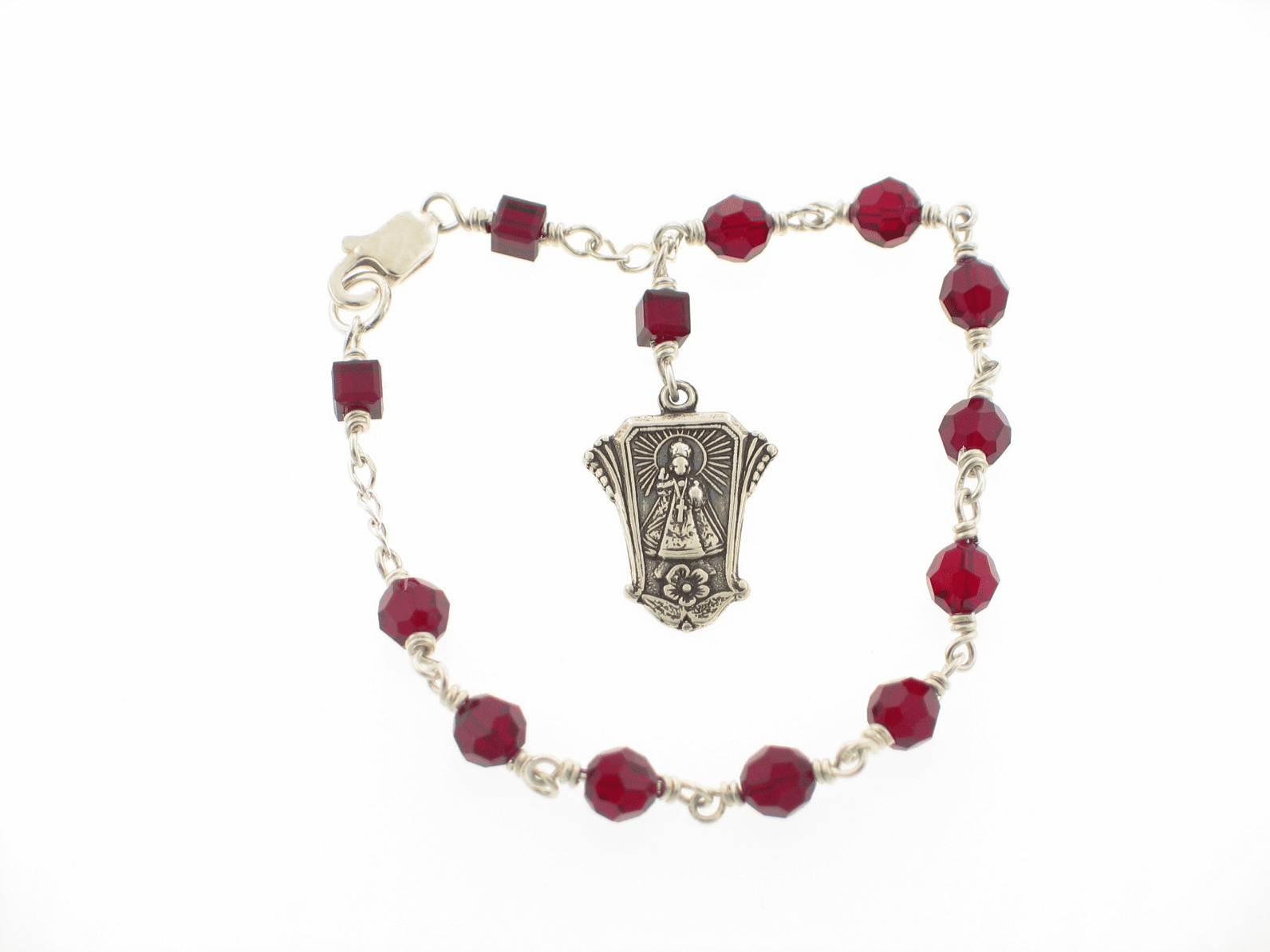 Infant of Prague Siam Red Swarovski Crystal Sterling Silver Bracelet by Heavenly Divine