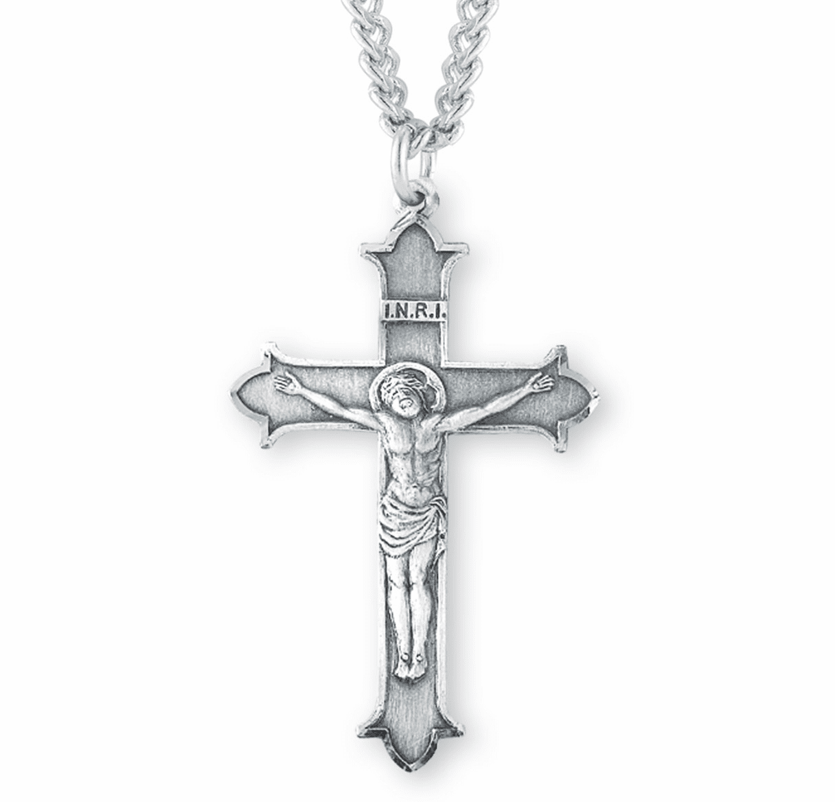 INRI with Crown Tips Flare Tipped Sterling Silver Crucifix Cross Necklace by HMH Religious