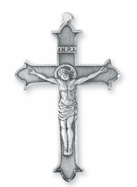 INRI with Crown Tips Sterling Silver Crucifix Cross Rosary Part by HMH Religious