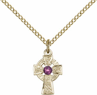 Irish Celtic Gold-filled Cross w/Amethyst Birthstone Cross Necklace by Bliss Mfg