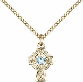Irish Celtic Gold-filled Cross w/Aqua Birthstone Cross Necklace by Bliss Mfg