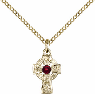 Irish Celtic Gold-filled Cross w/Garnet Birthstone Cross Necklace by Bliss Mfg