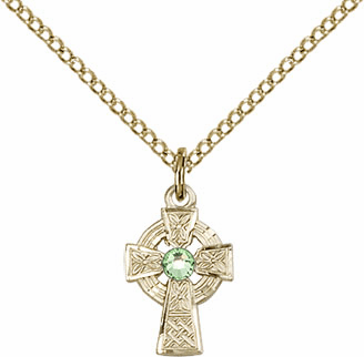 Irish Celtic Gold-filled Cross w/Perdot Birthstone Cross Necklace by Bliss Mfg