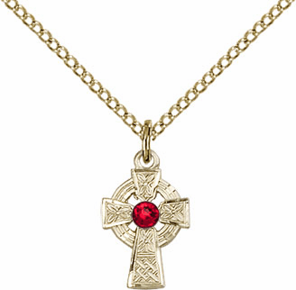 Irish Celtic Gold-filled Cross w/Ruby Birthstone Cross Necklace by Bliss Mfg