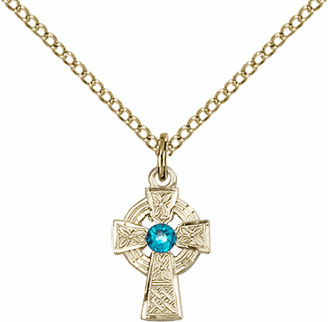 Irish Celtic Gold-filled Cross w/Zircon Birthstone Cross Necklace by Bliss Mfg