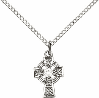 Irish Celtic Sterling Silver Cross w/Crystal Birthstone Cross Necklace by Bliss Mfg