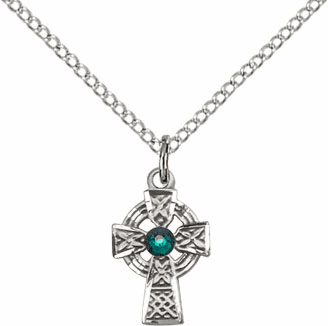 Irish Celtic Sterling Silver Cross w/Emerald Birthstone Cross Necklace by Bliss Mfg