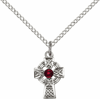 Irish Celtic Sterling Silver Cross w/Garnet Birthstone Cross Necklace by Bliss Mfg