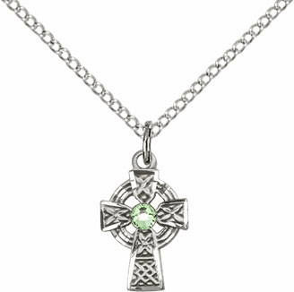 Irish Celtic Sterling Silver Cross w/Perdot Birthstone Cross Necklace by Bliss Mfg