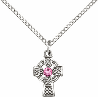 Irish Celtic Sterling Silver Cross w/Rose Birthstone Cross Necklace by Bliss Mfg