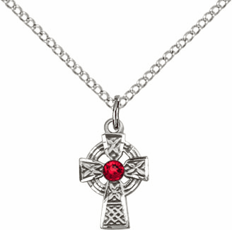 Irish Celtic Sterling Silver Cross w/Ruby Birthstone Cross Necklace by Bliss Mfg