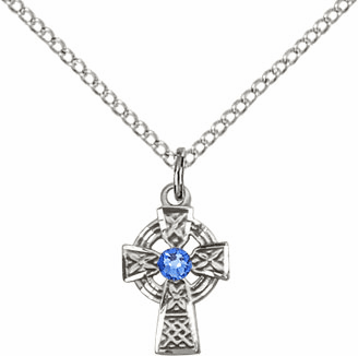 Irish Celtic Sterling Silver Cross w/Sapphire Birthstone Cross Necklace by Bliss Mfg