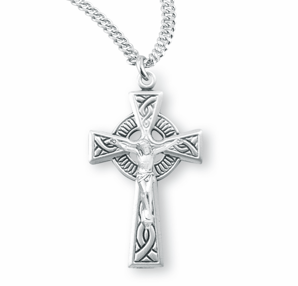 Irish Celtic Weave Sterling Silver Crucifix Cross Necklace by HMH Religious