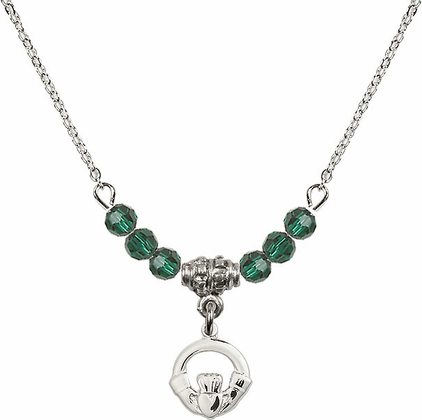 Irish Claddagh Charm with 6 Crystal Bead Necklace by Bliss Mfg
