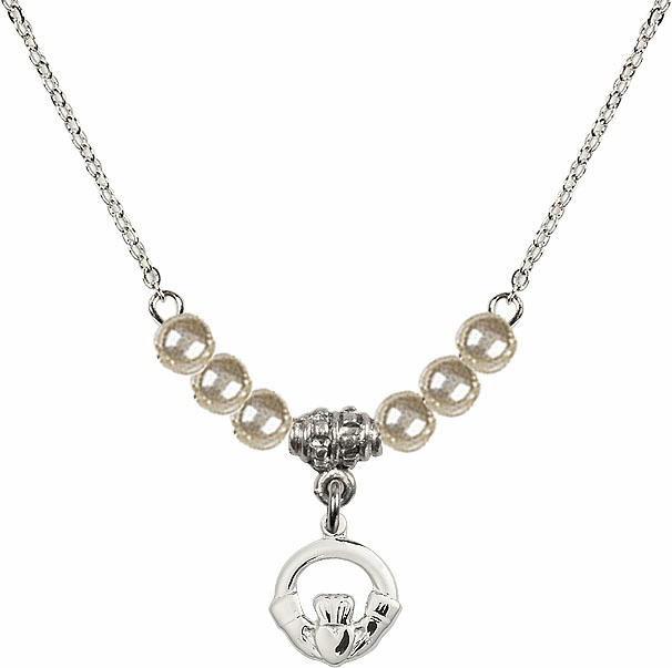 Irish Claddagh Charm with 6 Faux Pearl Bead Necklace by Bliss Mfg