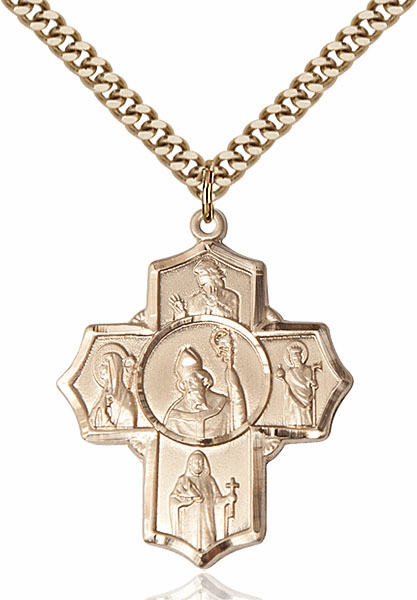 Irish Five-Way Cross 14kt Gold-filled Pendant Necklace by Bliss