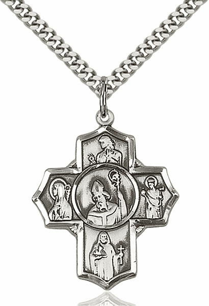 Irish Five-Way Cross Sterling Silver Pendant Necklace by Bliss
