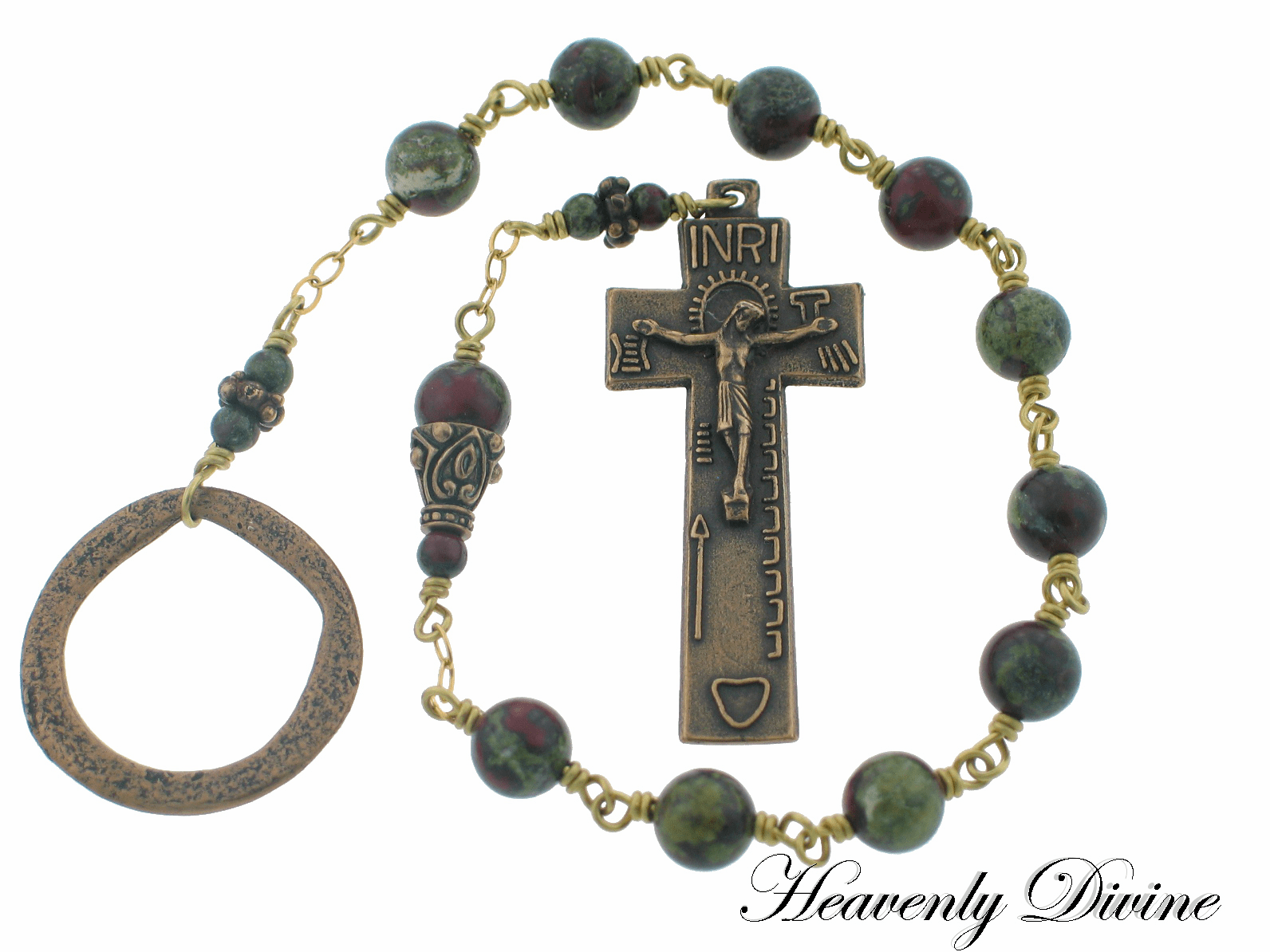 Irish Penal Bronze One-Decade Wire Wrapped Rosary by Heavenly Divine