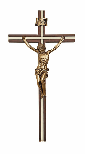 "James Brennan 10"" Walnut Wall Crucifix with Gold Plated Inlay"